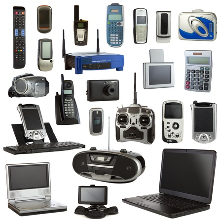 flip phone: Technology collage isolated on a white background depicting electronic devices.