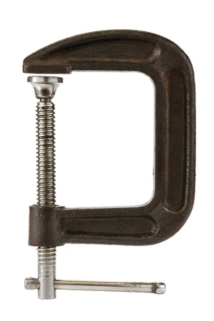 clamps: C clamp isolated on a white background. Stock Photo