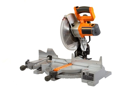 Compound miter saw isolated on a white background.