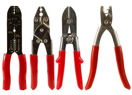 wire cutters: Set of wire cutters isolated on a white background
