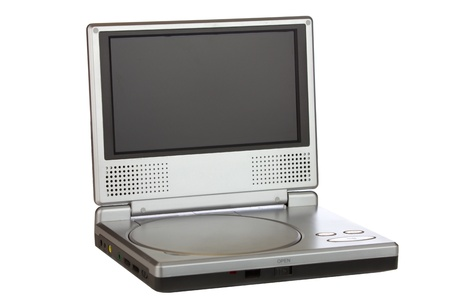 cd player: Portable DVD Player isolated on a white background. Stock Photo