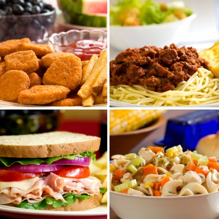 Food collage depicting chicken nuggets, spaghetti, turkey sandwich and chicken noodle soup. photo