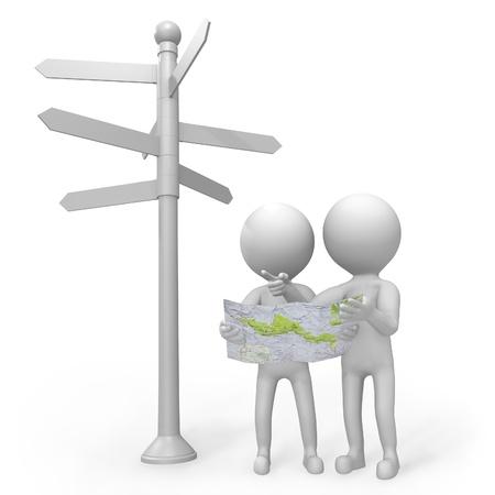 矢印を持つ複数の多くの方向に地図に従うルートを決定しようと道標下岐路に立っている 2 つの 3 d 人々