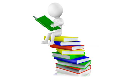 lecturing: 3d man sitting reading a hardcover book balanced on top of a pile of books arranged in a haphazard manner, isolated on white
