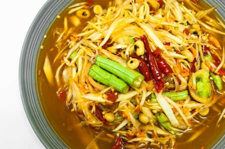 somtum: somtum is spicy and delicious of thai food Stock Photo