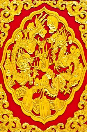beauty decoration dragon in wat borromracha, nonthaburi, thailand photo