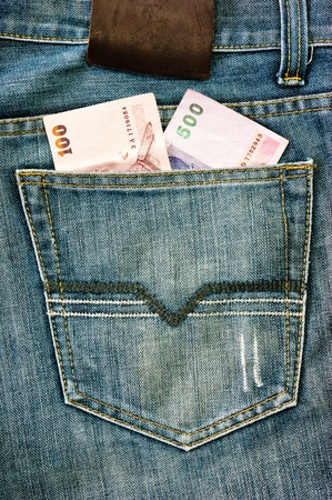 the money in the pocket blue jeans Stock Photo - 10439577