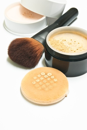 face powder: cosmetics to help conceal the wrinkles on the face Stock Photo