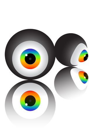 vivid color of eyeball on white background photo