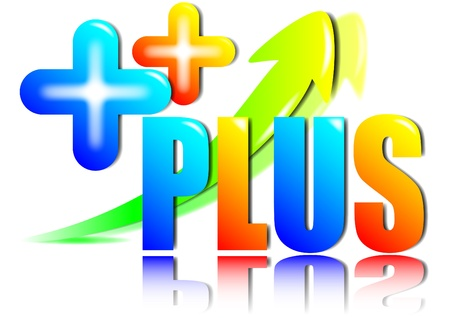 concept and vivid beautiful color on plus symbol and character  Stock Photo - 13818492