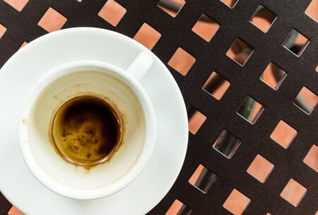 coffeetime: coffee stain in the white coffee cup Stock Photo