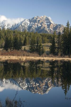Pyramid Mountain reflected in pond. Stock Photo