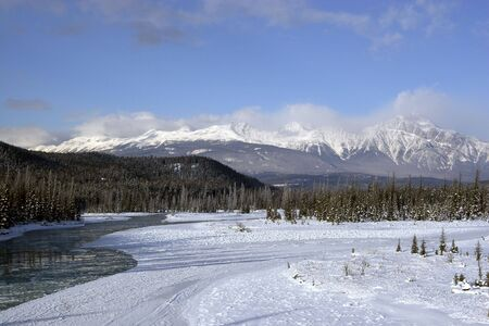 Winter shot of Athabasca River in Jasper National Park
