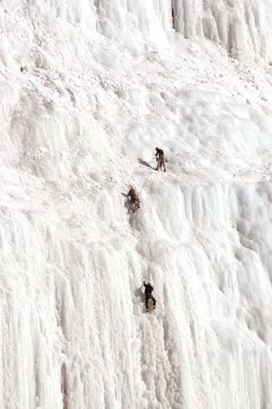 Ice climbers at the Weeping Wall in Banff National Park Stock Photo