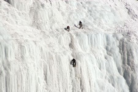 Ice climbers at the Weeping Wall in Banff National Park Stock Photo - 2249829