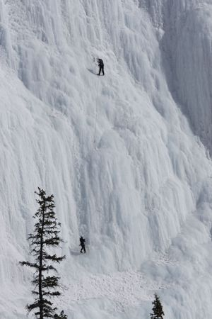 Ice climbers at the Weeping Wall in Banff National Park Stock Photo - 2249789