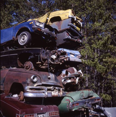 Pile of scrapped vintage cars.