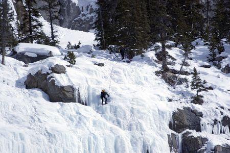 Ice climbers in Banff National Park, Alberta. Stock Photo