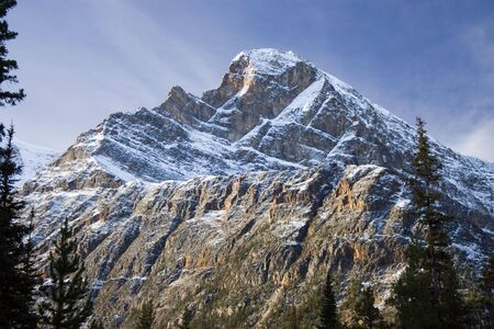 Mountain and skies in the Canadian Rockies. Stock Photo