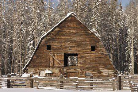 Abandoned barn shoot in the winter in Alberta.