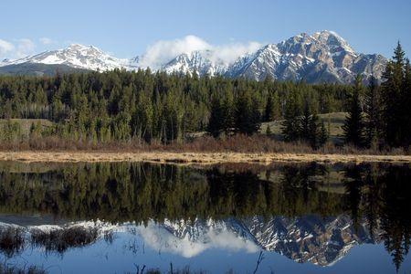 Pyramid Mountain, Jasper Alberta, reflected in Pyramid Lake