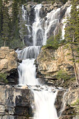 Tangle Creek waterfalls in Jasper National Park, Alberta, Canada Stock Photo
