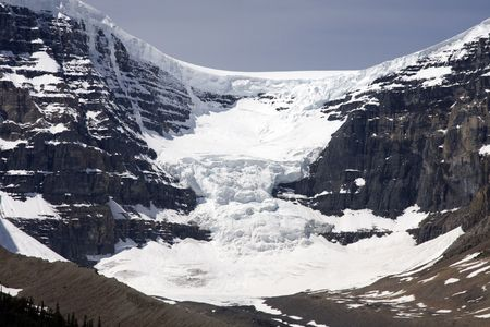 Glacier and mountains around the Columbia Icefields in Jasper National Park.