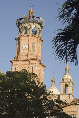 Detail of church tower in rural Mexico.