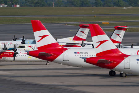 Stored aircrafts of Austrian Airlines due to Covid 19 travel restrictions in Vienna, April 2020