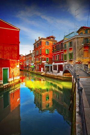 Postcard from Italy.Venice - Exquisite antique buildings along Canals.