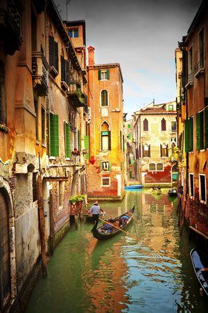 Groeten uit Italy.Venice - Exquisite antieke gebouwen langs de grachten.  Stockfoto