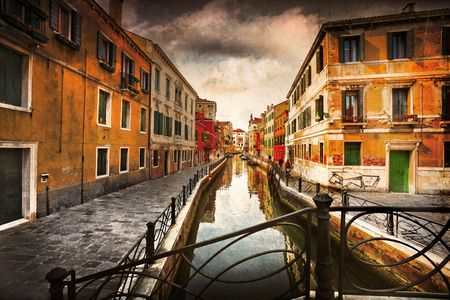Postcard from Italy. Venice - Exquisite antique buildings along Canals. Tinting, Artistic processing.