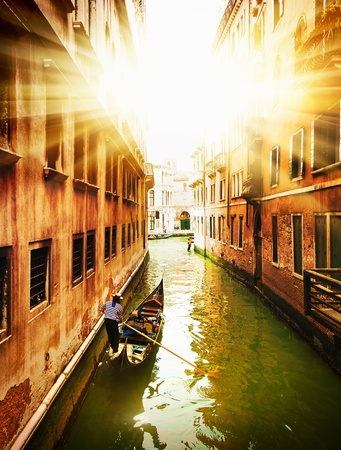 venice canal: Postcard from Italy.Venice - Exquisite antique buildings along Canals.