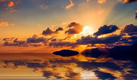 Sunrise over the Cretan land and the Mediterranean sea. Stock Photo