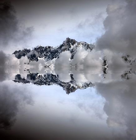 massif: Mount Aguille du Midi at 3842 meters altitute. Mont Blanc massif, Alps. Chamonix, France. Stock Photo