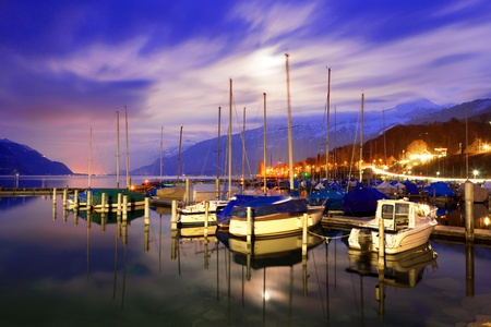 bernese oberland: Boats on Lake Thun. Bernese Oberland. Switzerland.