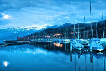 oberland: Boats on Lake Thun. Bernese Oberland. Switzerland.