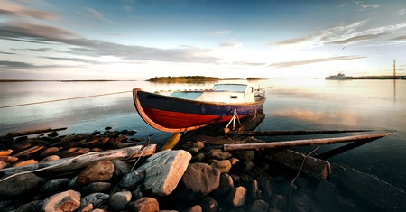 Solovki, Solovetsky Islands,The White Sea, Korelia, Russia. The boat on the shore.