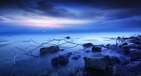 storm tide: Sea coast after the storm.  Stock Photo