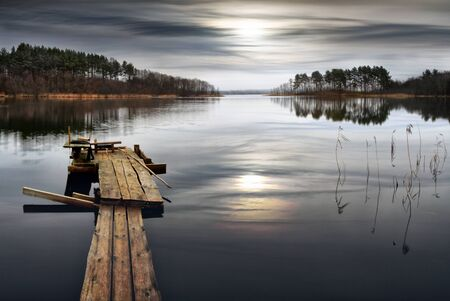 loch: Lake landscape. Silence. Beauty In Nature. A place for the fisherman. Stock Photo