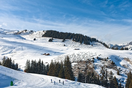 The ski slope in the Bernese Alps in Switzerland.
