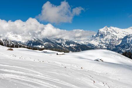 monch: The ski slope in the Bernese Alps in Switzerland.