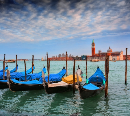 Gondolas and San Giorgio Maggiore, Venice, Italy Stock Photo