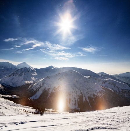 Crystalline snow sparkles in the winter sun. Polish Tatras. Zakopane.
