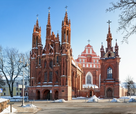St. Annes and St. Francis and St. Bernardino Churches - a landmark in Vilnius, The capital of Lithuania Banco de Imagens