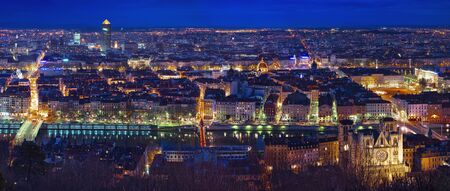 rhone:  City of Lyon by night Stock Photo
