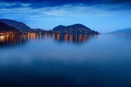 oberland: Lake Thun at night. Hilterfingen. Bernese Oberland. Switzerland.