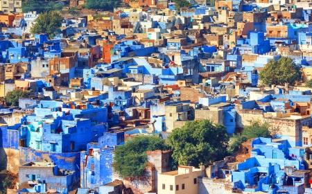 Een mening van Jodhpur, de blauwe stad van Rajasthan, India Stockfoto