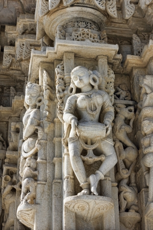 Ancient Sun Temple in Ranakpur. Jain Temple Carving.  Ranakpur, Rajasthan, Pali District, Udaipur, India. Asia. photo