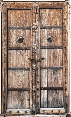 Old wooden door. Rajasthan,India photo
